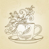 Tea time. Hand drawn tea-time concept stock illustration