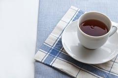 Tea time. Teacup wth linen cloth and serviette Stock Photo