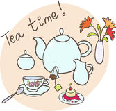 Tea time. Table layout for tea: a teapot, a cup, a milk-jug, a tea bag, a vase with flowers and a pastry royalty free illustration