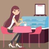 Tea time. A pretty girl having tea break Royalty Free Illustration