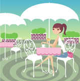 Tea time. A pretty girl having tea break stock illustration