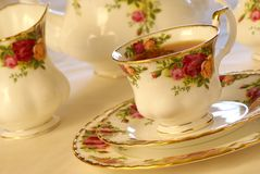 Tea Time. Porcelain china cup of tea. Warm tones Royalty Free Stock Images