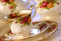 Tea Time. Porcelain china cup of tea. Warm tones Stock Image