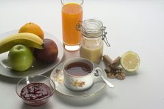 Tea time. With fruits and jam Royalty Free Stock Photo