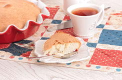 Tea time with apple Pie and berry on red-blue napkin Stock Photography