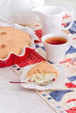 Tea time with apple Pie and berry on red-blue napkin Stock Photos