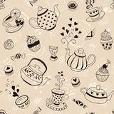 Tea time backgroud. Tea time seamless pattern. Tea party background design. Hand drawn doodle illustration with teapots, cups and sweets Stock Images