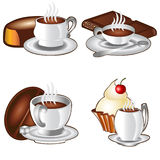 Tea time background cup cheese coffee icon Royalty Free Stock Photo
