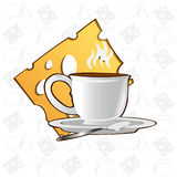 Tea time background cup cheese icon Royalty Free Stock Photo