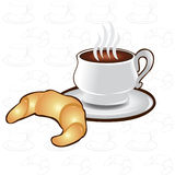 Tea Time Background Cup Coffee Croissant Icon Royalty Free Stock Image