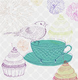 Tea time background with cupcakes and bird Stock Images