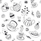 Tea time background. Tea time seamless pattern. Tea party background design. Hand drawn doodle illustration with teapots, cups and sweets Royalty Free Stock Images