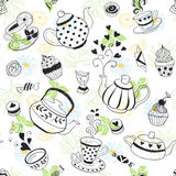 Tea time background. Tea time seamless pattern. Tea party background design. Hand drawn doodle illustration with teapots, cups and sweets Stock Photos