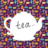 Tea time background with teapot Stock Photos