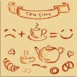 Tea time , beautiful hand drawn illustration, Vector. Stock Photography