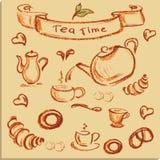 Tea time , beautiful hand drawn illustration, Vector. Stock Photos