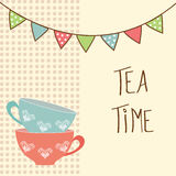 Tea time. Beautiful vintage card with tea cups and flags. Tea time. vector illustration royalty free illustration