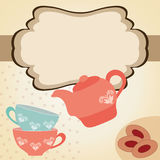 Tea time. Beautiful vintage card with teapot, cups and cakes. Tea time. vector illustration royalty free illustration