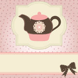 Tea time. Beautiful vintage card with teapot. Tea time. vector illustration stock illustration
