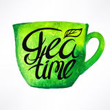 Tea time. Beautiful watercolor green cup. hand-drawn illustration Stock Photo