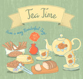 Tea Time. Beauty Vintage Background. Vector. Stock Photo