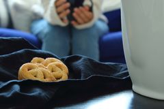 Tea time with biscuits. royalty free stock photography