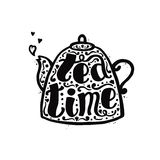 Tea time black ink handwritten lettering in teapot with hearts. Part one. Stock Images
