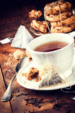Tea time. Black tea and cookies Stock Photo