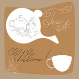 Tea time card. Universal template for greeting card, web page, background Royalty Free Stock Photo