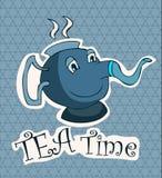 Tea Time Card with a Cartoon Teapot. Stock Photos