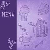 Tea time card menu. Violet card with tea accessories and doodle foliage Stock Illustration