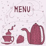 Tea time card menu. White card with tea accessories and doodle flowers Royalty Free Illustration