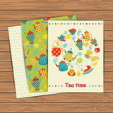 Tea time card set Royalty Free Stock Photos
