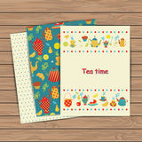 Tea time card set Royalty Free Stock Images