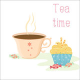 Tea time card. Vector card template in vintage style featuring tea cup, cream cupcake with waffle sticks and candies Stock Photography