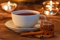 Tea time with cinnamon. Tea time with rock candy and cinnamon Stock Photography