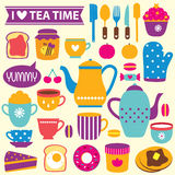 Tea time clip art set Stock Photo