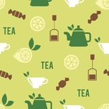 Tea Time Concept in Seamless Pattern Stock Photography