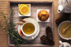 Tea time concept. Winter tea time. Lovely arranged cup of tea next to tea ingredients, on top of the wooden tray royalty free stock photos
