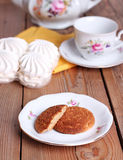 Tea time with cookies and zephyr Royalty Free Stock Photography