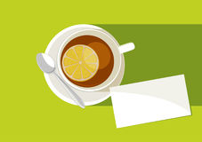 Tea time. Cup of tea with tea spoon and card on green background, vector stock illustration