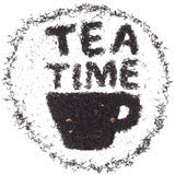 Tea time. Cup of tea made of tea leaves with an in Royalty Free Stock Image