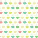 Tea time, cups seamless pattern. Vector illustration. Simply seamless pattern with colored cups of tea. Vector background in flat for design stock illustration
