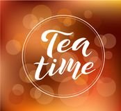 Tea time custom lettering text on blurred background, vector illustration. Tea calligraphy for logo, invitation and postcards. Tea time vector design Royalty Free Stock Photography