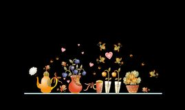 Tea time. Cute shelf with teapot, teacups, flowers and birds Royalty Free Stock Images