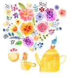 Tea Time Cute Watercolor Card Royalty Free Stock Photo