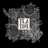Tea time design banner templates set Stock Images