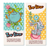 Tea time design banner templates set Royalty Free Stock Images