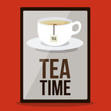 Tea time. Design over red background, vector illustration Royalty Free Stock Photo