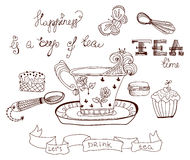 Tea time doodle background Royalty Free Stock Photos